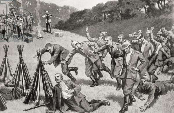 German prisoners being mown down by British rifles, after the First Battle of the Marne (litho)