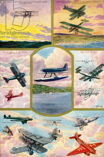The Progress of Aviation during the 25 years reign of King George V.  From The Illustrated London News, Silver Jubilee Record Number, 1910 - 1935