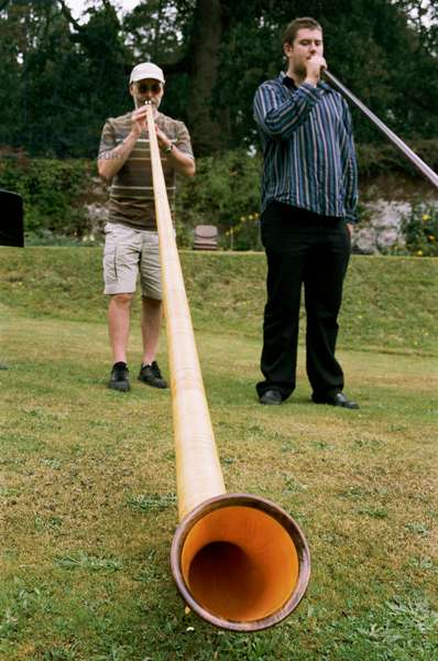 Alphorn being played outdoors