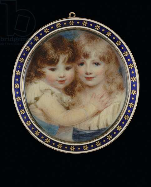 Two children embracing, c.1800-05 (w/c on ivory)