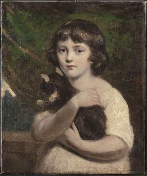 Portrait of a young girl with a cat (oil on canvas)