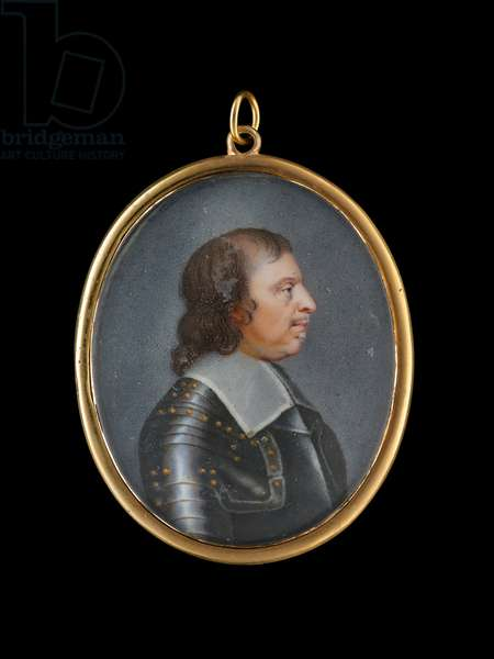 Portrait enamel of Oliver Cromwell, profile to the right, wearing gilt-studded armour and falling lawn collar (enamel)