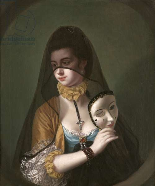 A Lady in a Masquerade Habit (oil on canvas)