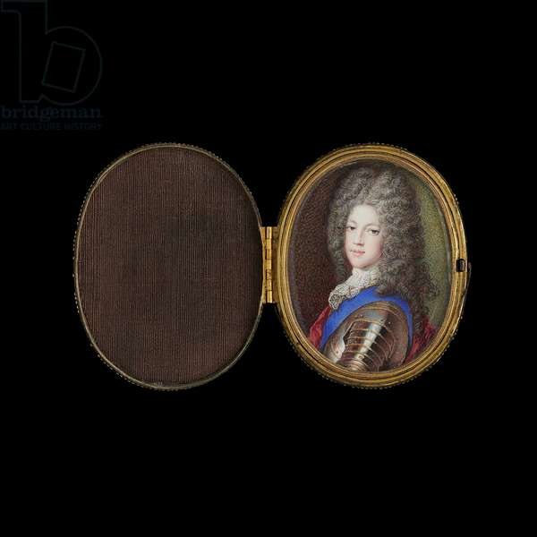 Prince James Francis Edward Stuart, the Old Pretender, wearing armour, white lace stock and blue sash of the Garter, 1705 (gouache on vellum)