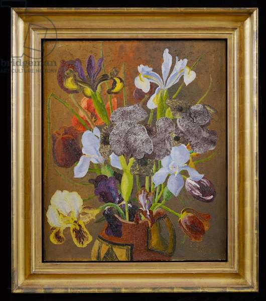Irises and Tulips (oil on canvas)