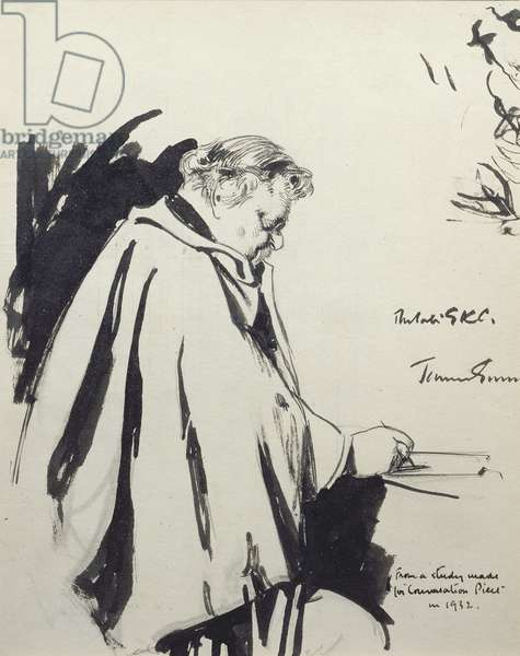 Portrait of Gilbert Keith Chesterton (1874-1936) 1932 (pen and ink)