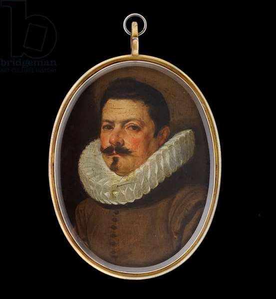 Portrait miniature of a Gentleman wearing a lace ruff and brown doublet, c.1620 (oil on copper)