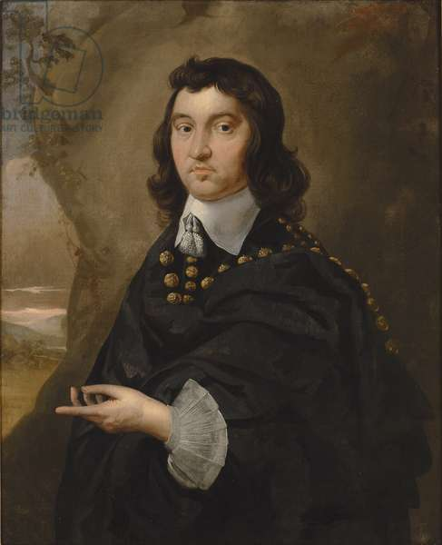 Portrait of Captain Richard Pryce, late 1640s-early 1650s (oil on canvas) (pair to 328023)