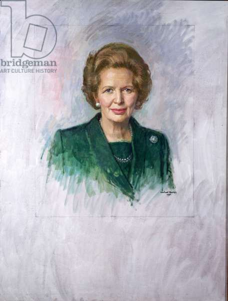 Head and Shoulders Portrait Study of the Rt. Hon. Margaret Thatcher when Prime Minister, 1990 (oil on canvas)