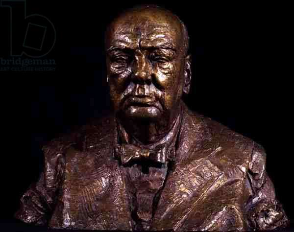 Portrait Bust of Sir Winston Churchill (1874-1965), front view, 1958 (bronze) (see also 123943)