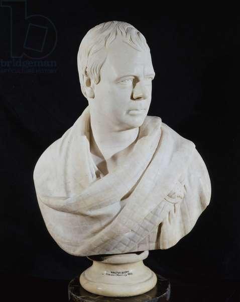 Portrait bust of Sir Walter Scott, 1820 (marble)