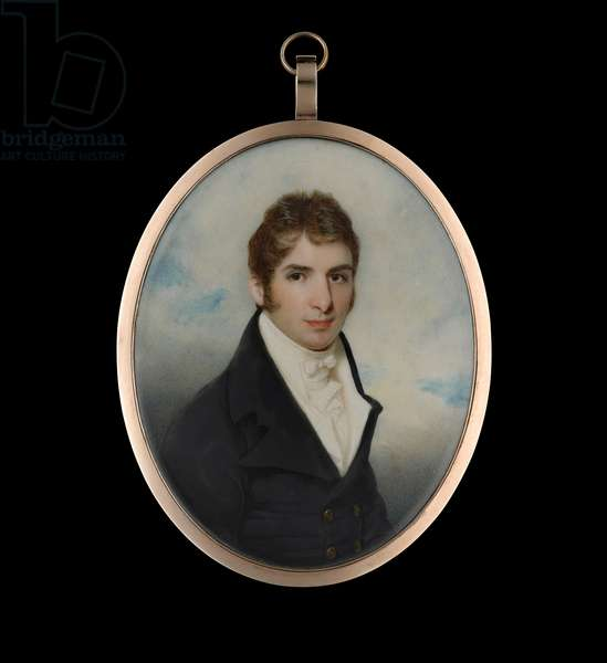 Portrait miniature of a young gentleman with dark hair wearing a black coat (w/c on ivory)