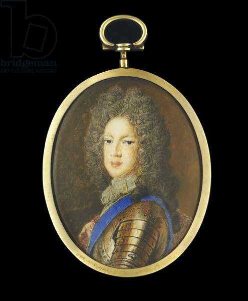 Portrait miniature of Prince James Francis Edward Stuart, the Old Pretender, c.1704 (w/c on vellum)