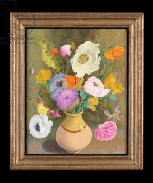 Poppies and Sweetpeas (oil on canvas)