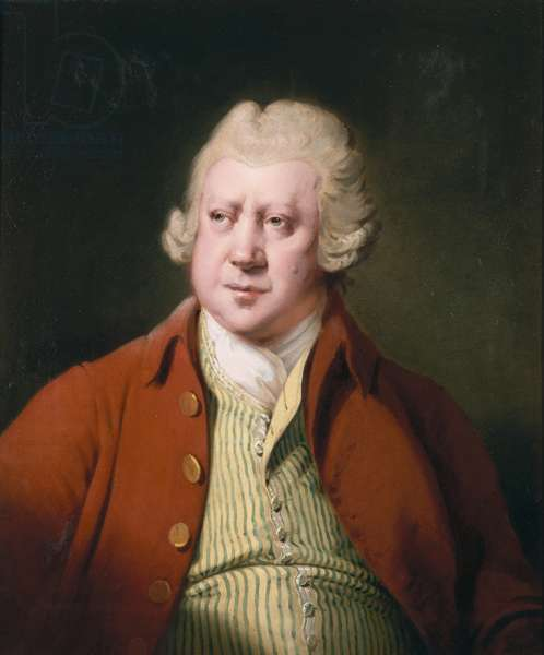 Portrait of Richard Arkwright, half length, in a red coat, white stock and yellow and green waistcoat (oil on canvas)