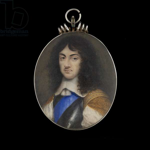 Portrait miniature of Charles II, as Prince of Wales, in armour breastplate, wearing the blue sash of the Order of the Garter, natural curling brown hair, c.1653 (w/c on vellum)