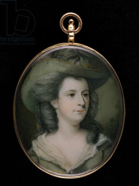 Portrait miniature of Jane, Duchess of Gordon, wearing gold-trimmed green hat and matching dress, her hair powdered, c.1783 (w/c on ivory)