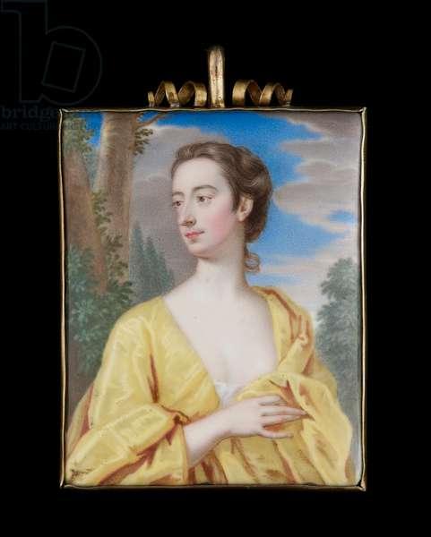 Portrait enamel of a Lady in yellow, c.1710-15 (enamel)
