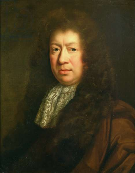 Portrait of Samuel Pepys (1633-1703), copy after John Riley (1646-91) (oil on canvas)