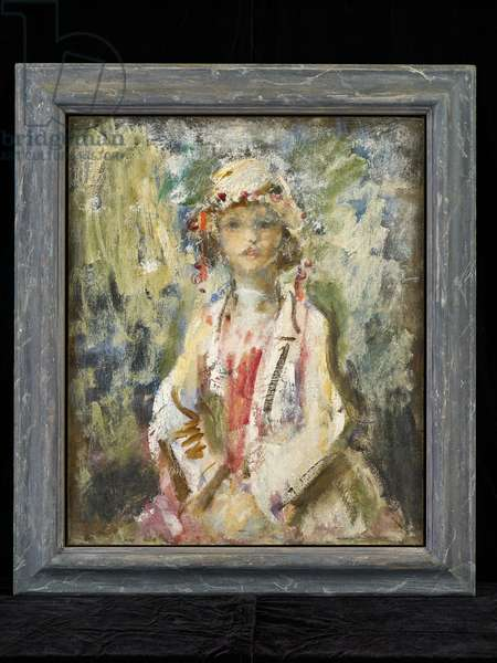 Portrait sketch of a Young Girl in white, c.1919 (oil and canvas)