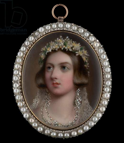 Portrait enamel of Queen Victoria, wearing wedding attire, white lace veil, a wreath of orange blossoms, Turkish diamond earrings and necklace, 1841 (enamel on gold)