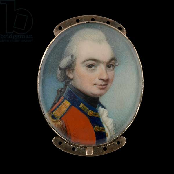 Portrait miniature of an Officer of a Royal regiment of Foot, wearing scarlet coat with dark blue facings and gold lace, the lace loops on his lapels square-ended (w/c on ivory)