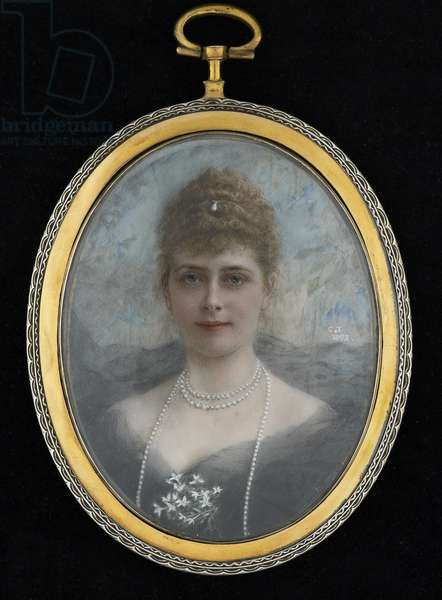 Portrait of Queen Mary, 1893 (w/c on ivory)