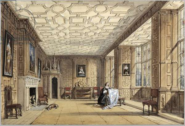 The Drawing Room at Broughton Castle (colour litho)