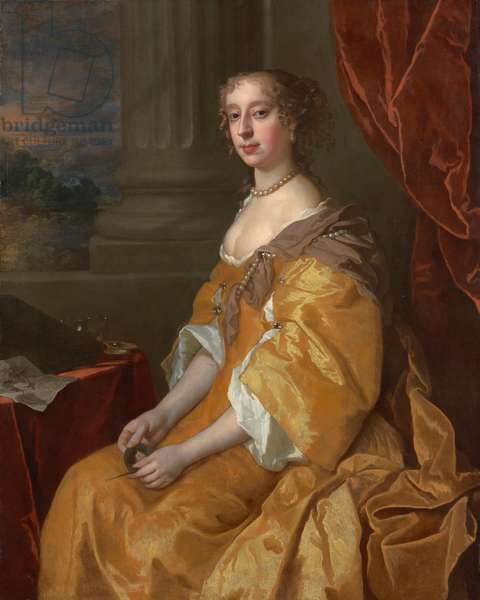 Portrait of Anne Killigrew, three-quarter-length, in a yeallow dress, holding, late 17th century (oil on canvas)