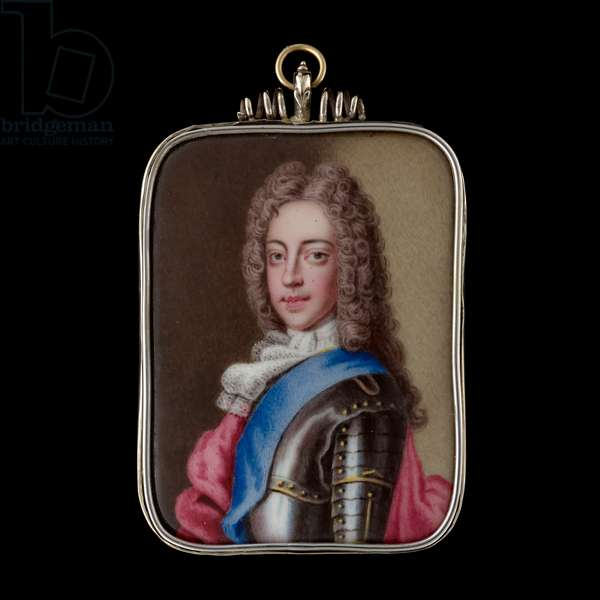 Portrait enamel of Prince James Francis Edward Stuart, 'The Old Pretender', wearing suit of armour, blue sash of the Order of the Garter, white lace chemise and stock, red mantle, his wig worn curled and powdered, c.1705  (enamel)