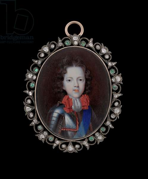 Portrait miniature of James Francis Edward Stuart, 'the Old Pretender', c.1695 (watercolour on vellum )