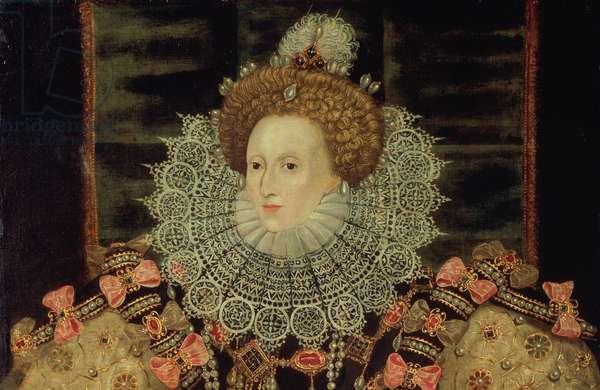 Portrait of Queen Elizabeth I - The Armada Portrait, detail (oil on canvas)