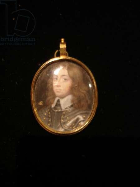 A portrait miniature of a Gentleman wearing gold studded armour (w/c on vellum)