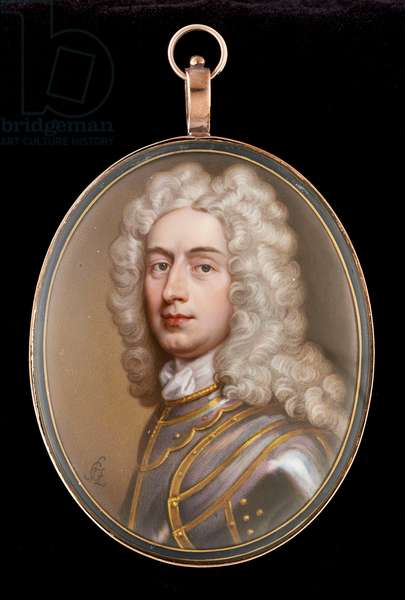 Portrait enamel of a Gentleman, wearing gilded armour and long powdered curling wig, c.1715 (enamel on copper)