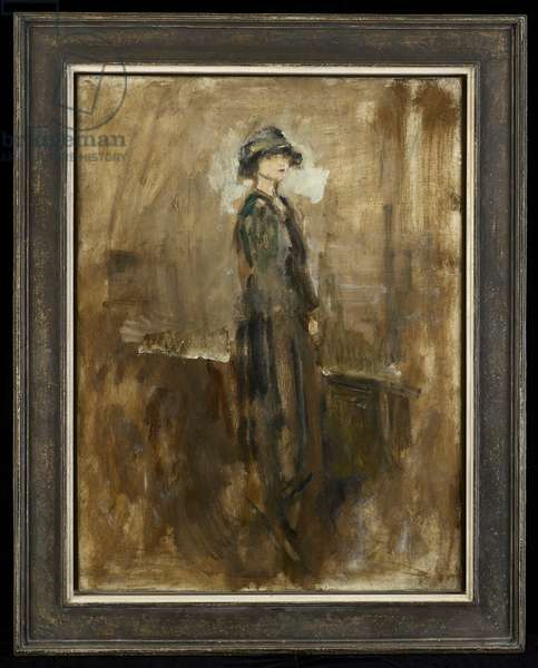 Lady in a hat, c.1915-20 (oil on canvas)