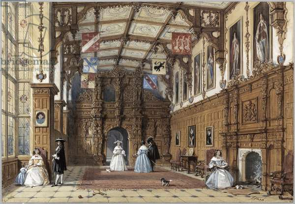 The Great Hall at Audley End (colour litho)