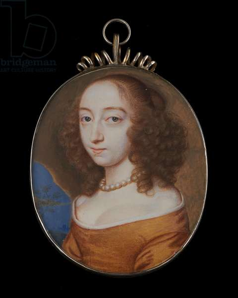 Portrait miniature of a Lady wearing ochre gown, white chemise and pearl necklace, her brown hair worn curled, set in a cave and landscape background, 1654 (w/c on vellum)