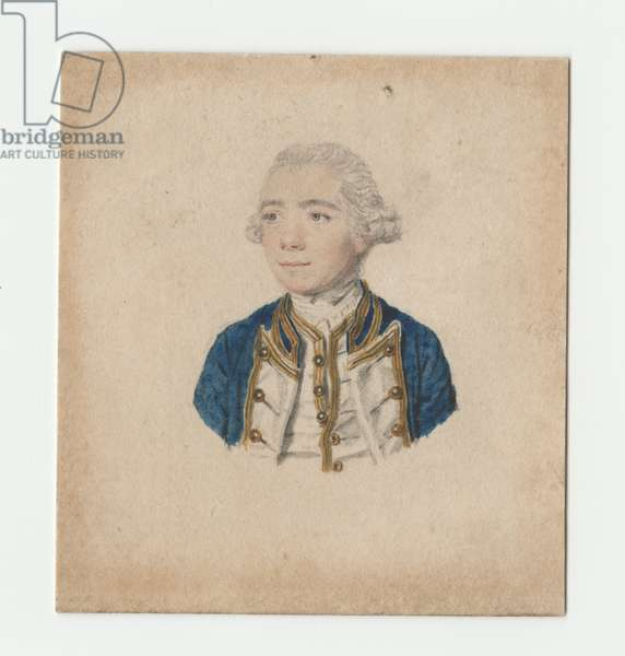 Portrait drawing of Captain George Anthony Tonyn (d.1770) (pencil & w/c on paper)