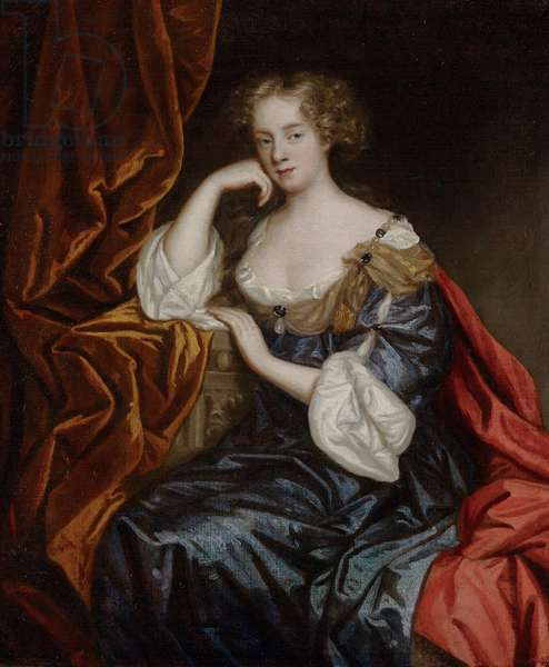 Portrait of a Lady wearing a blue gown (oil on canvas)