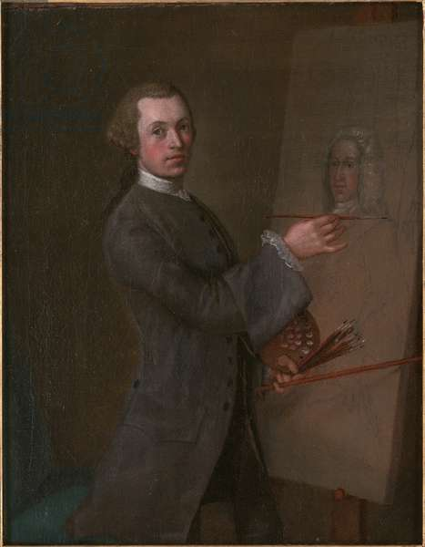 Self Portrait with a Portrait of Prince James Francis Edward Stuart, c.1747-49 (oil on canvas)