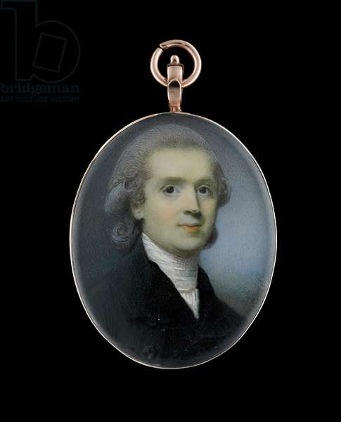 Portrait miniature of George Hall, Bishop of Dromore, wearing black coat and white stock, his hair powdered (w/c on ivory)