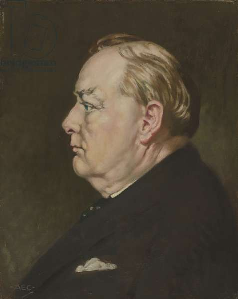 'Profile for Victory' portrait of Sir Winston Churchill, 1942 (oil on canvas)