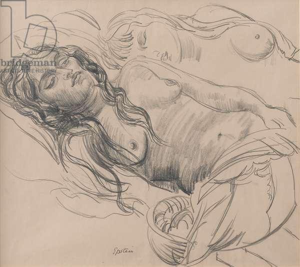 Study of Sunita and Anita, c.1926-28 (pencil on paper)