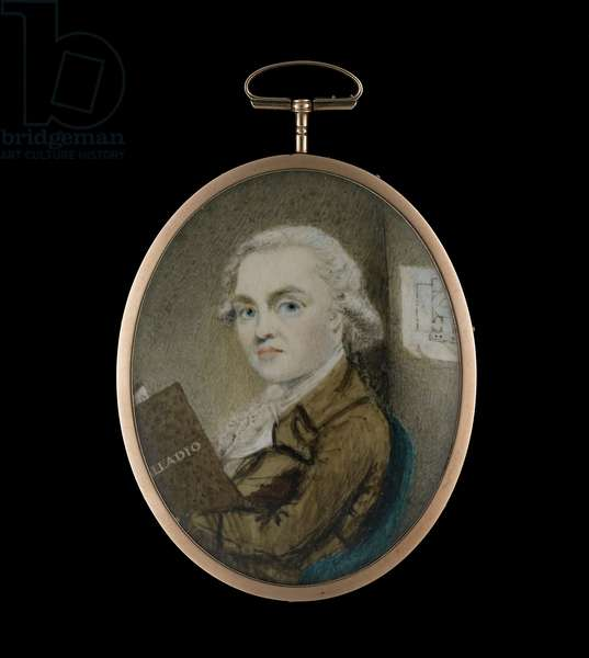 Portrait miniature of an architect, possibly James Craig, seated in a room with a copy of 'Palladio', an architectural plan on the wall behind , c.1770 (w/c on ivory)