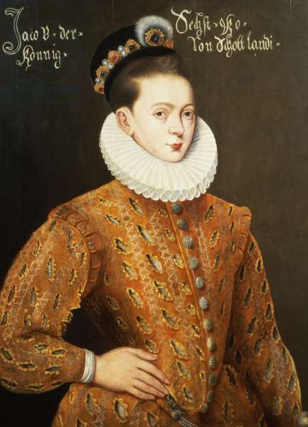 Portrait of James I of England and James VI of Scotland (1566-1625), purported to be the marriage portrait sent to the Danish Court to seduce Anne, his future wife (oil on panel)