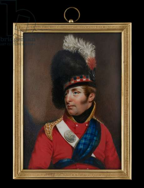 Portrait miniature of a Highland Officer, wearing scarlet coat with tartan sash, white cross belt with silver belt plate (bearing crown), gold epaulettes and black feather bonnet with diced band and white and red feather plume (w/c on ivory)