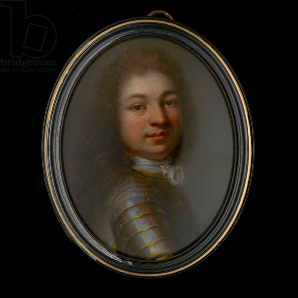 Portrait of a Nobleman, wearing gilded armour, white cravat and his dark hair curled (oil on copper)