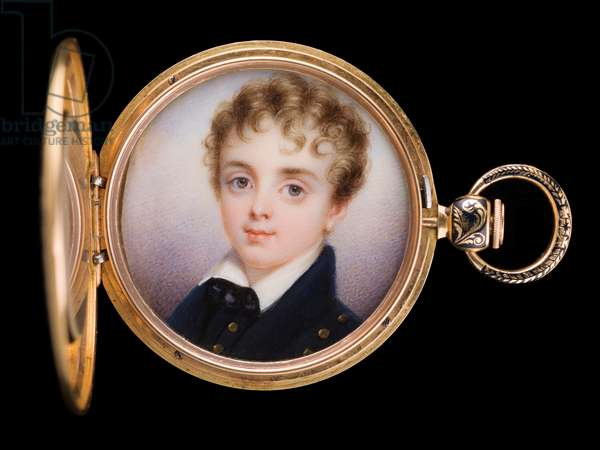 Portrait miniature of George Herbert Griffies Williams wearing dark blue coat and waistcoat with brass buttons (w/c on ivory)