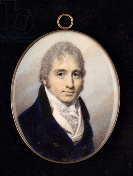 Portrait miniature of a gentleman in a navy coat and white shirt (w/c)