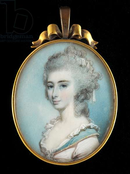 Portrait miniature of Lady Elizabeth Loftus wearing pale pink dress with gold edged blue collar and white lace trim, her powdered hair worn long and curling  (w/c on ivory)